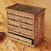 Painted glass jewelry box