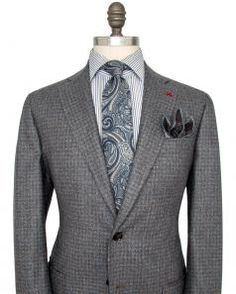 Image of Isaia Blue and Tan Check Sportcoat