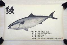 デジタル魚拓サービス 魚墨で作成したハマチの墨魚拓です。 It is a sumi fish print of a yellowtai. www.uosumi.net/