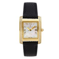 #ZALES - #Croton Ladies' Croton Diamond Accent Gold-Tone Strap Watch with Square Mother-of-Pearl Dial (Model: CN207057YLMP) at Zales - AdoreWe.com