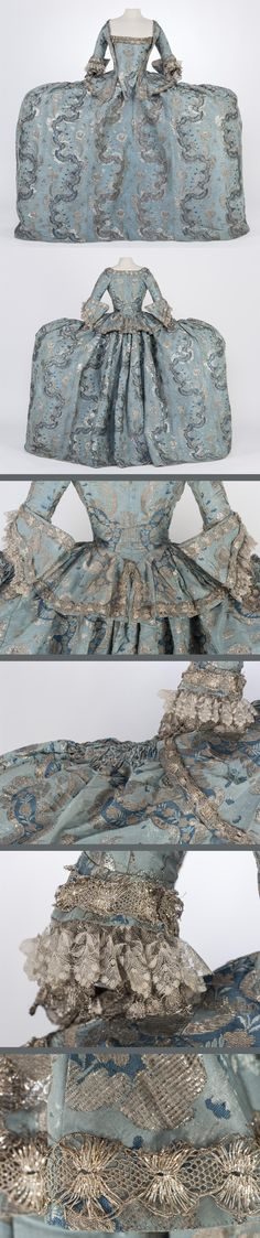 Court Dress, 1745-1750, France (?) Silk brocade fabric with ribbed patterns and motifs made with three types of silver metallic thread and fabric of blue silk. IMATEX Registration NO. 11682
