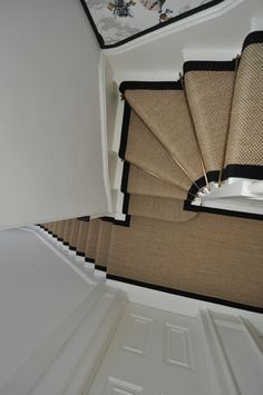 sisal stair runners Bowloom sisal stair runners with binding tape and Austin - Las Vegas Antique Brass stair rods Carpet Staircase, Staircase Runner, Sisal Stair Runner, Carpet Runner On Stairs, Hallway Carpet Runners, Entrance Hall Decor, Narrow Hallway Decorating, Hallway Inspiration, Hallway Designs