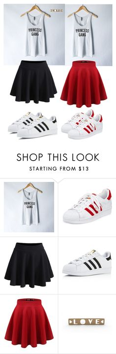 """""""Bff school goals"""" by lukneee ❤ liked on Polyvore featuring adidas and WithChic"""