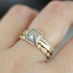 Rose Cut White Gray Asscher Cut Diamond In 14K by louisagallery, $1150.00