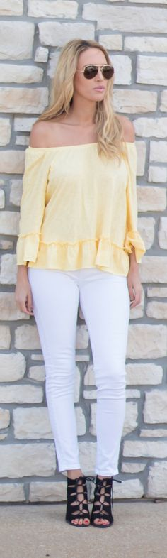 Yellow off the shoulder top with ruffle details that are perfect for your next spring outfit or easter outfit. it will transition beautifully into your summer wardrobe.