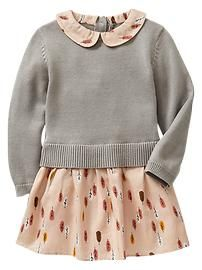 Mix-fabric feather dress - baby gap