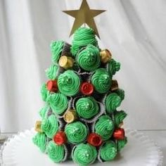 This cupcake  candy Christmas tree is the perfect crafty dessert for a holiday party. You can even use it for the centerpiece!