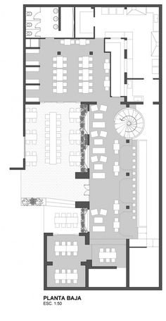 Image 19 of 21 from gallery of Capitán Central Brewery / Guillermo Cacciavillani. Restaurant Layout, Cafe Restaurant, Restaurant Floor Plan, Restaurant Interior Design, Cafe Floor Plan, Office Floor Plan, Floor Plan Layout, Floor Plans, The Plan