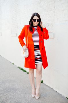 Red trench with striped pencil skirt by Kendi Everyday.