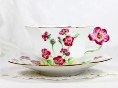 Melba Octagonal Teacup, Flower Handled Hand Painted Tea Cup and Saucer – The Vintage Teacup