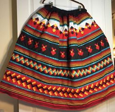 SEMINOLE PATCHWORK FIRE COLORS LONG SKIRT WITH CONFETTI DOT FABRIC ❤️ #Handmade