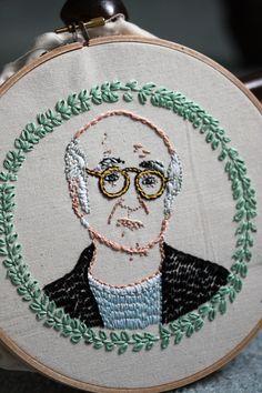 Larry David embroidered portrait