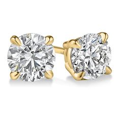 Round Four-Prong Basket Diamond Stud Earrings in 18kt Yellow Gold... ❤ liked on Polyvore featuring jewelry, earrings, accessories, brincos, yellow gold earrings, gold earrings, stud earrings, diamond jewelry and diamond jewellery