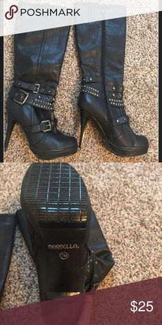 Sz 8 black high heel boots Never worn, Sz 8 leather black high heel boots Shoes Heeled Boots