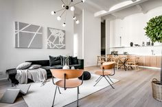 scandinavian interior design, open plan