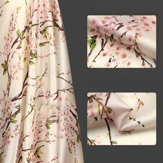 Cherry Blossom and Branch Pattern Floral Printed Silk Organza Fabric - 100% Mulberry Silk Fabric - SS3