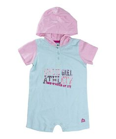 Loving this Mint & Pink 'Girlie Girl Athlete' Hooded Romper - Infant on #zulily! #zulilyfinds