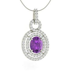 Oval-Cut Amethyst  and Diamond  Unique Necklace in 14k White Gold