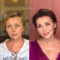 23 Before And After Photos That Shows The Power Of Makeup - FunRare Here are incredible before and after makeup photos that show not only the power of makeup but also the talent of the makeup artist. Enjoy awesome makeup transformation photos of the day. Photo Makeup, Love Makeup, Hair Makeup, Makeup Pics, Girls Makeup, Old Lady Makeup, Before After Hair, Makeup Before And After, Long To Short Hair