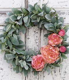 This wreath is just lovely! It looks so soft with the combination of velvet textured lamb's ear against pink and coral peonies. A pretty wreath to adorn your door for years to come. -Constructed on an 18 Diy Spring Wreath, Diy Wreath, Tulle Wreath, Hydrangea Wreath, Deco Nature, Mothers Day Wreath, Green Wreath, Wedding Wreaths, Valentine Wreath
