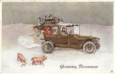 Christmas pigs in snow old car Artist signed postcard 1928