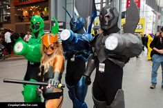 This is epic! Green, Blue, and Black Beetle, and Tigress. Interestingly, the Tigress cosplayer opted to keep hair blonde as Tigress appeared after Wally's death.