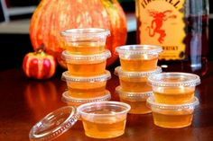 Apple cider with fireball whiskey jello shots