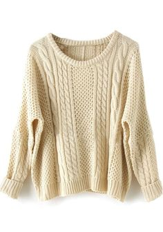 Beige Collarless Bat Long Sleeve Loose Cotton Pullover