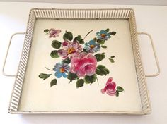 Toleware Tray Handpainted Vintage by JanvierRoad on Etsy, $25.00
