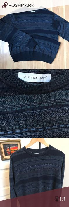 Knit Cotton Pattern Crewneck Alex Cannon Alex Cannn classic cotton crewneck knit sweater. Beautiful shades of blue with navy at the waist, necks, and cuffs. Fits true to size hugging at the shoulder and waist with room for an undershirt if wanted or fine worn by itself.  Size: L Color: Navy blue base with patterned shades of blue all over. Style: Crewneck sweater Fabric: 100% Cotton Condition: Excellent condition with no rips tears stains or discolorations. Fabric and stitch is in great…