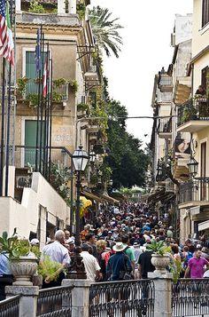 Tourists In Taormina, Italy