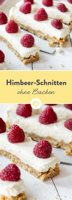 Schneller Kuchen mit Himbeeren (ohne Backen)
