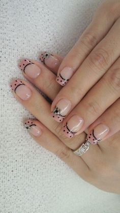 french with dots nail design