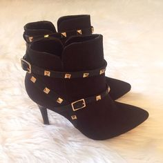 Black Studded Booties Brand new in box • Faux Suede • Gold Studded Details • True to size • Available in other sizes in separate listings • No trades / Priced to sell. Shoes Ankle Boots & Booties
