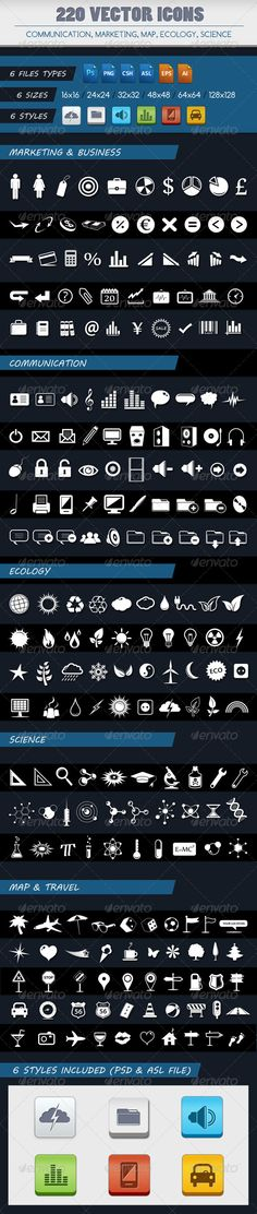 220 VECTOR ICONS OF 5 CATEGORIES - GraphicRiver Item for Sale