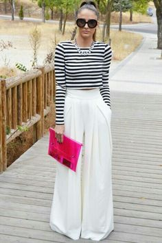 Black and white Stripe crop top w/ white gauchos,and a pink clutch