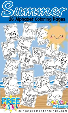 coloring pages - Free Printable Summer 26 Page Alphabet Coloring Book ⋆ Miniature Masterminds Free Preschool, Preschool Printables, Free Printables, Alphabet Activities, Preschool Activities, Preschool Alphabet, Preschool Curriculum, Preschool Worksheets, Homeschooling