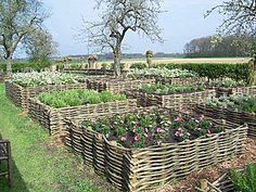 Beautiful eco friendly raised garden beds you can do yourself... if you have time to weave them.  Not goat proof.