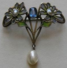 Art Nouveau Pale Blue Plique-a-jour Enamel, Pearl, Blue Stone And Silver Brooch - German Or French