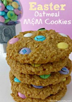 Oatmeal Cookies with Easter MM Candies   Celeb Baby Laundry