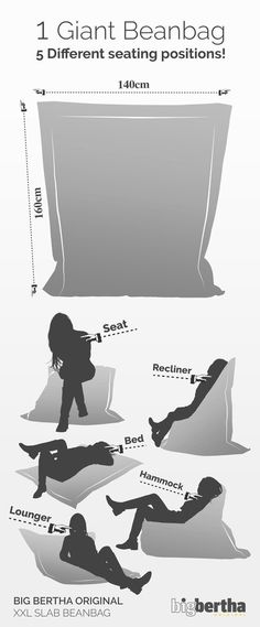 1 Giant Beanbag: 5 Different seating positions List of the best bean bag chair for adults coolthin. Bean Bag Uk, Diy Bean Bag, Cool Bean Bags, Make A Bean Bag, Giant Bean Bags, Large Bean Bags, Giant Bean Bag Chair, Bean Bag Pattern, Bean Bag Living Room