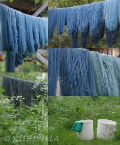Riihivilla, Dyeing with natural dyes.  You gotta love indigo.  I wish our growing season was longer.