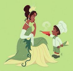 Tiana & young boy [as Tiana feat. Tiana as a doll] (Drawing by MarcianoIlustrador