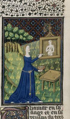 Detail of a miniature of Thamar painting her picture of Diana.  Origin:France, N. (Rouen) Giovanni Boccaccio TitleDe claris mulieribus in an anonymous French translation (Le livre de femmes nobles et renomées) c. 1440