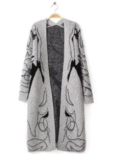 cd57951ad065 SheIn offers Grey Long Sleeve Beauty Print Knit Cardigan   more to fit your  fashionable needs.