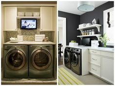 In this article you will discover practical ideas for the laundry room and solutions which may help you to adapt this space to fit your specific needs. Laundry Area, Laundry Room Design, Laundry Rooms, Kitchen Cupboard Handles, Kitchen Cupboards, Basement Stairs, Stacked Washer Dryer, Decoration, Home Remodeling