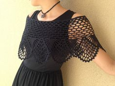 Crochet prom cape cotton and silk handmade shrug lace by Mrlworks