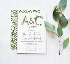 Printable Press twig and botanical wedding invitations