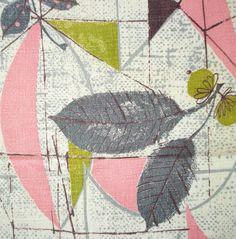 Vintage Barkcloth Fabric - Fabulous Fifties Print Pink and Gray