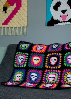 You searched for Skull granny square blanket - Disco Sloth Designs Crochet Skull Patterns, Halloween Crochet Patterns, Granny Square Crochet Pattern, Crochet Squares, Crochet Blanket Patterns, Crochet Square Blanket, Crochet Afghans, Crochet Stitches, Crochet Gifts